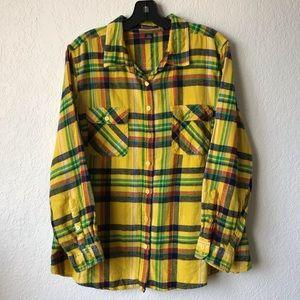 ROAMAN's Plus Size Yellow Plaid Flannel Top